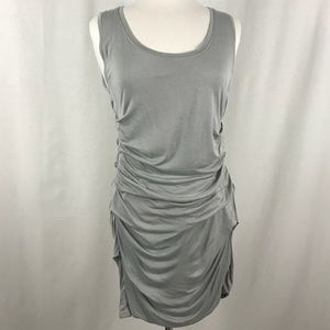 CAbi Grey Tucked Tunic Ruched Mini Dress Medium